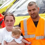 Mickey and Amy with crew from the Yorkshire Air Ambulance